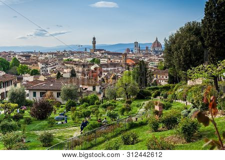 Florence, Italy - April, 2018: View Of The Beautiful City Of Florence From The Giardino Delle Rose I
