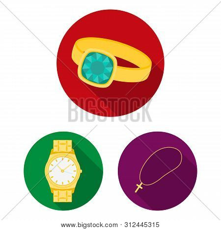 Isolated object of jewelery and necklace logo. Set of jewelery and pendent stock symbol for web. poster