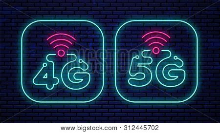 Neon 4g And 5g Signs Isolated On The Wall Background. Vector Set Neon Glowing 4g And 5g Icons.