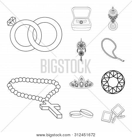 bitmap design of jewelery and necklace icon. Set of jewelery and pendent stock bitmap illustration. poster
