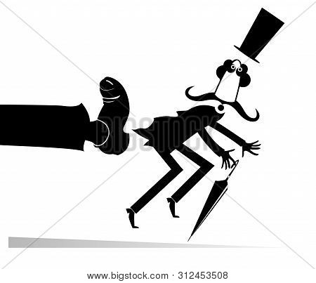 Man Has Been Given A Kick To The Ass Illustration. Long Mustache Man In The Top Hat With Umbrella Ha