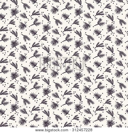 Hand Drawn Abstract Christmas Foliage Pattern. Tiny Tossed Fir Tree Branch. Ecru White Background. C