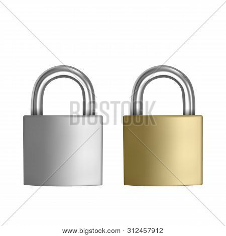Two Realistic Icons Silver And Golden Padlock In The Closed Position, Isolated On White Background,