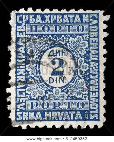ZAGREB, CROATIA - SEPTEMBER 11, 2014: A stamp issued in Kingdom of Serbs, Croats and Slovenes shows numeric value, circa 1931.