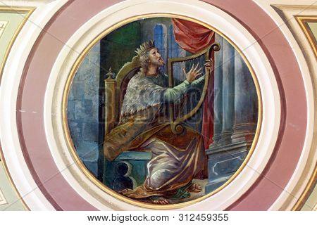 IVANIC GRAD, CROATIA - SEPTEMBER 25, 2011: King David, fresco in the church of the Saint Peter in Ivanic Grad, Croatia
