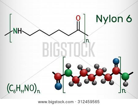 Nylon 6 Or Polycaprolactam Polymer Molecule. Structural Chemical Formula And Molecule Model