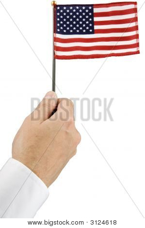 Hand Holding American Flag With Path