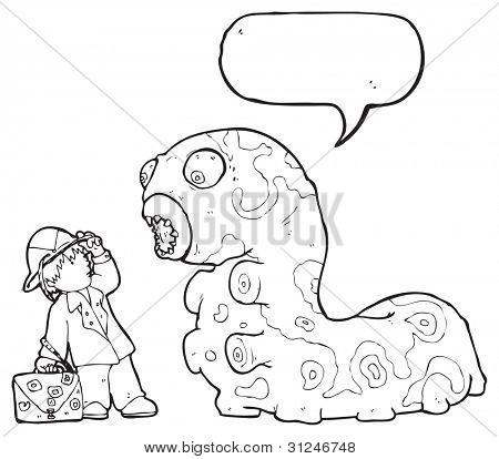 cartoon adventurer boy and giant caterpillar poster