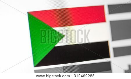 Sudan National Flag Of Country. Sudan Flag On The Display, A Digital Moire Effect. News Of Geography