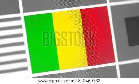 Mali National Flag Of Country. Mali Flag On The Display, A Digital Moire Effect. News Of Geography A