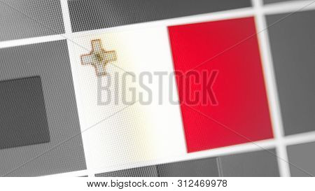 Malta National Flag Of Country. Malta Flag On The Display, A Digital Moire Effect. News Of Geography