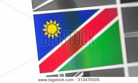 Namibia National Flag Of Country. Namibia Flag On The Display, A Digital Moire Effect. News Of Geogr