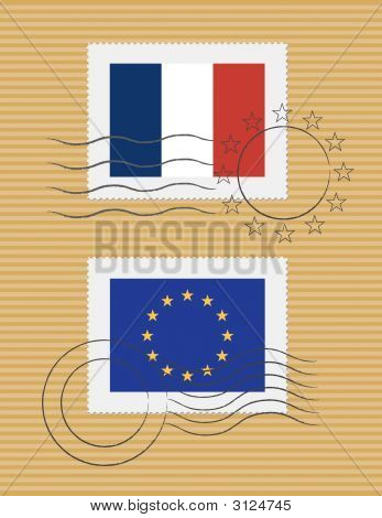 Flag Of France And European Union