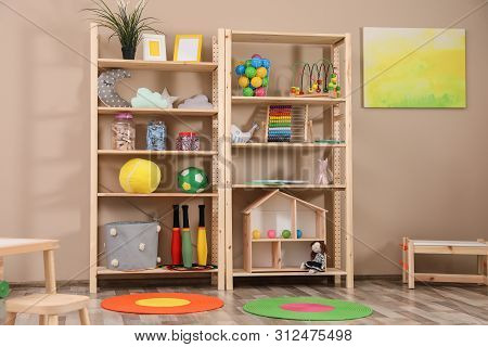 Storage For Toys In Colorful Child's Room. Idea For Interior Design