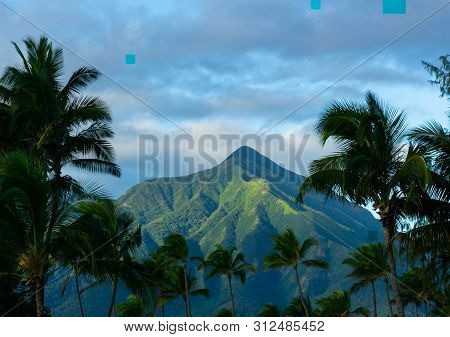 View Of A Mountain In Maui, Hawaii.