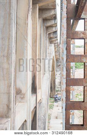 Abandoned And Disused Bridge Pillars Near Hampi India