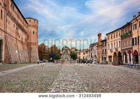 Cesena, Emilia-romagna, Italy: Landscape Of The Ancient Square Piazza Del Popolo With The Fortified