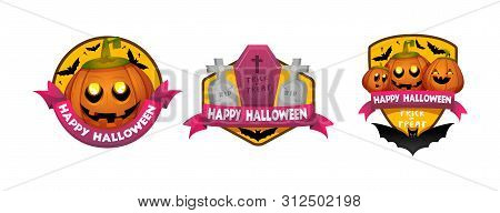 Halloween Stickers, Signs, Labels, Badges, Icons. Vector Isolated Illustration