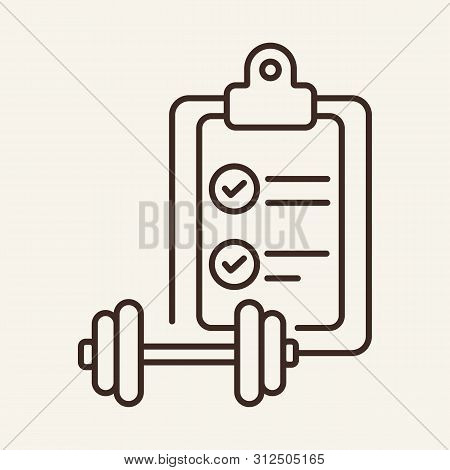 Sport Plan Line Icon. Gym, Exercise, Regime. Sport Concept. Vector Illustration Can Be Used For Topi