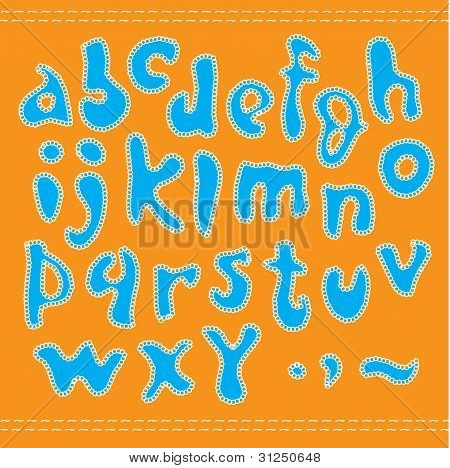 Blue alphabet.