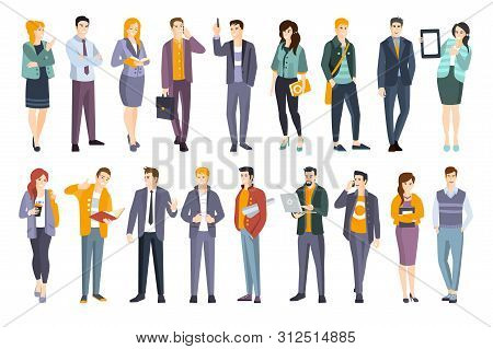 Young Professional Confident People Set. Man And Women Wearing Modern Dress Code Office Clothing Fla
