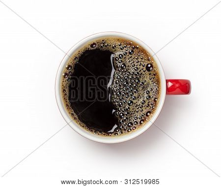 Coffee Cup, Top View Of Coffee Black In Red Ceramic Cup Isolated On White Background. With Clipping