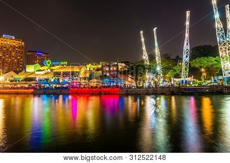 Singapore - March 5 : Colorful Light Building At Night In Clarke Quay, Singapore On March 5, 2015. C