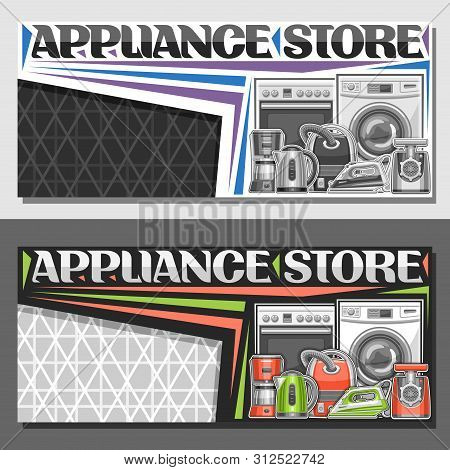 Vector Layout For Appliance Store With Copy Space, Illustration Of Different Red And Green Modern Ho
