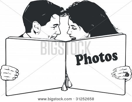 isolated Illustration with a young couple in love
