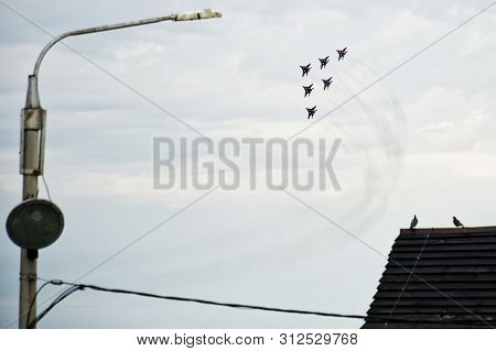 Russia, Magnitogorsk, - July, 19, 2019. A Group Of 6 Russian Fighter Fulcrum-a (mig 29) In Flight Ov