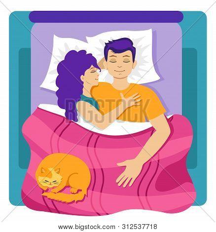 Couple Sleeping In Bed. Love In The Bedroom.
