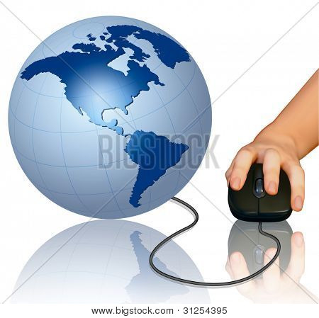Hand with computer mouse and globe. Vector illustration.