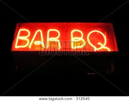 bar b q neon sign poster