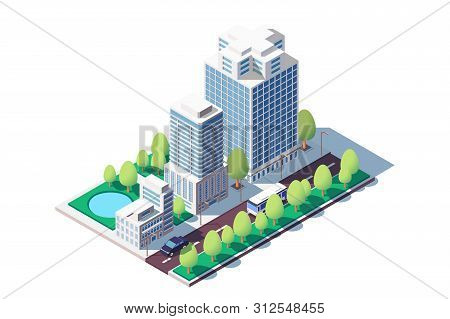 3d Isometric Square Ground Complex Of Administrative Buildings. Concept Public Area Near Building, H