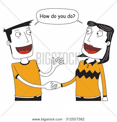 Illustration Of Two People Shaking Their Hands