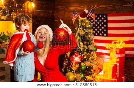 My Dear Baby Santa. Mother And Little Child Boy Adorable Friendly Family Having Fun. Family Having F