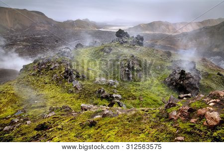 Landmannalaugar Wild Geothermal Andscape In Southern Iceland