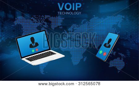 Voip Call System Voice Phone Technology. Voice Over Ip, Ip Telephony Concept. Hi-tech Call System. V