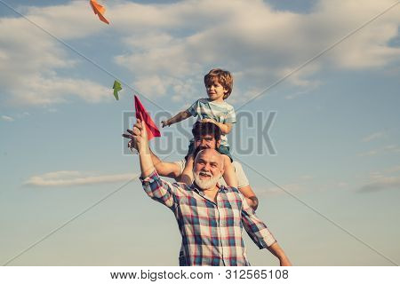 Men Generation. Father And Son With Grandfather - Happy Loving Family. Happy Man Family Have Fun Tog