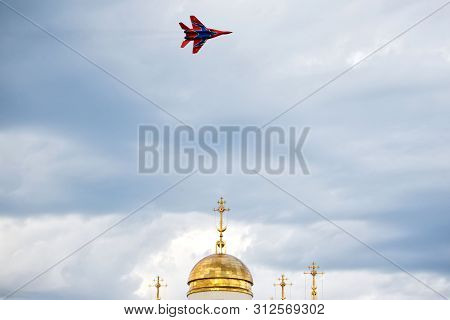 Russia, Magnitogorsk, - July, 19, 2019. Russian Fulcrum-a Fighter Plane (mig 29) Over The Dome Of An