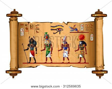Ancient Egypt Papyrus Scroll Cartoon Vector With Hieroglyphs And Egyptian Culture Religious Symbols,