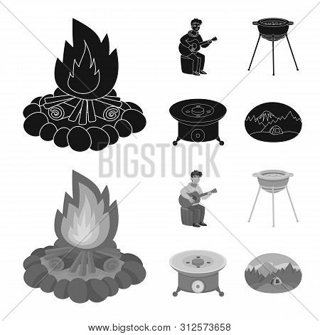 Vector Design Of Cookout And Wildlife Symbol. Set Of Cookout And Rest Stock Vector Illustration.