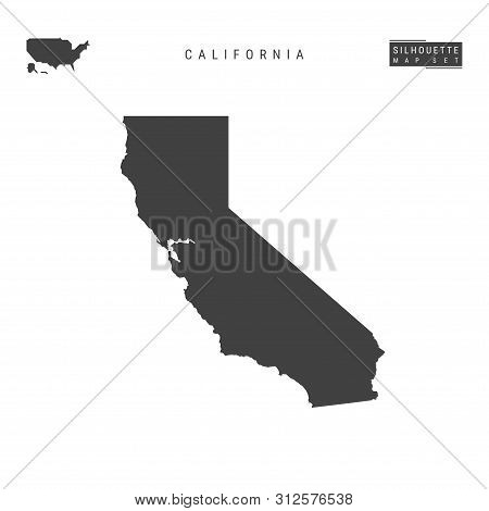 California Us State Blank Vector Map Isolated On White Background. High-detailed Black Silhouette Ma