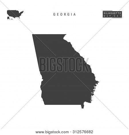 Georgia Us State Blank Vector Map Isolated On White Background. High-detailed Black Silhouette Map O
