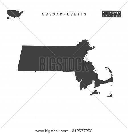 Massachusetts Us State Blank Vector Map Isolated On White Background. High-detailed Black Silhouette
