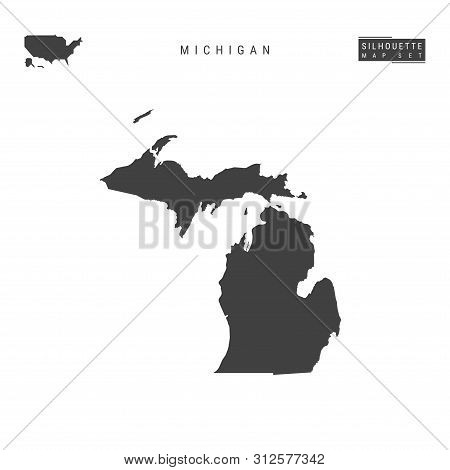 Michigan Us State Blank Vector Map Isolated On White Background. High-detailed Black Silhouette Map