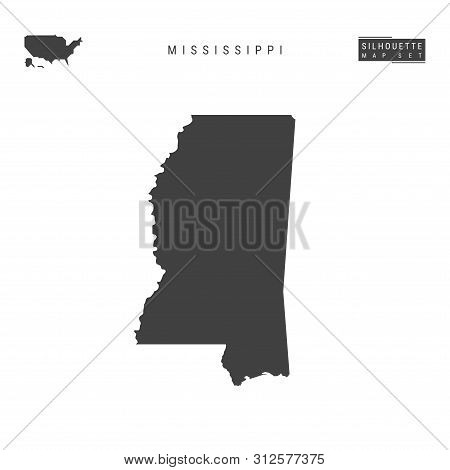 Mississippi Us State Blank Vector Map Isolated On White Background. High-detailed Black Silhouette M