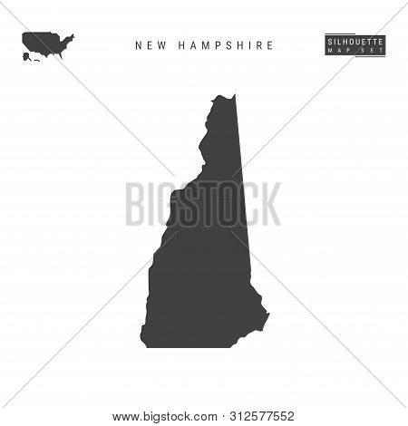 New Hampshire Us State Blank Vector Map Isolated On White Background. High-detailed Black Silhouette