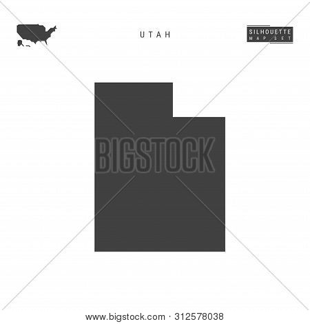 Utah Us State Blank Vector Map Isolated On White Background. High-detailed Black Silhouette Map Of U