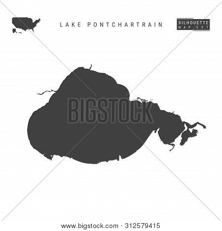 Lake Pontchartrain Blank Vector Map Isolated On White Background. High-detailed Black Silhouette Map